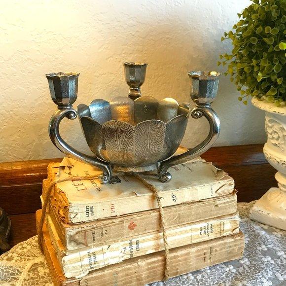 V T G Italian 1940's flower bowl and candleholder